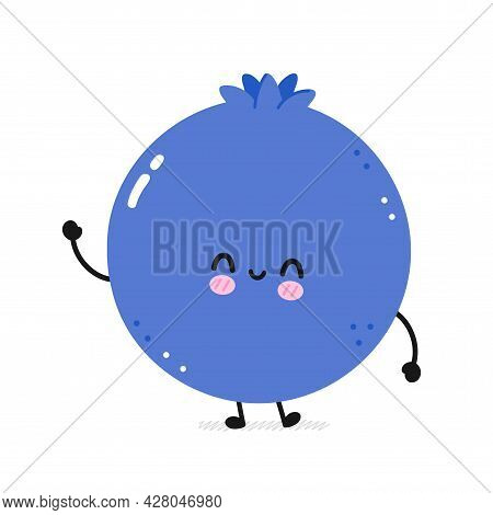 Cute Happy Smile Funny Blueberry. Vector Flat Line Cartoon Kawaii Face Character Illustration Icon.