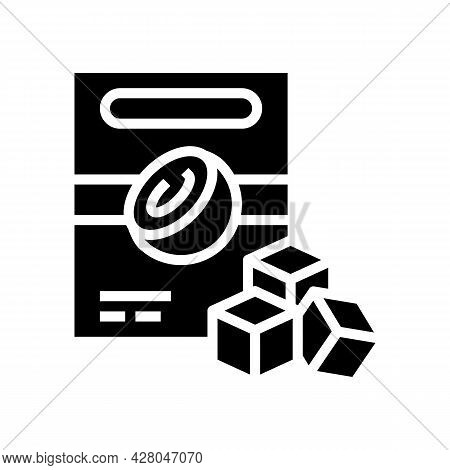 Charcoal Cubes Coconut Glyph Icon Vector. Charcoal Cubes Coconut Sign. Isolated Contour Symbol Black