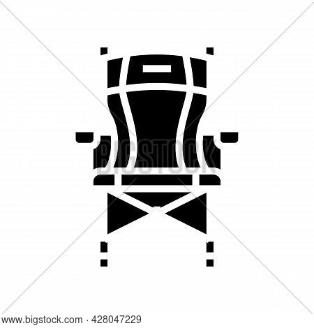 Portable Hunting Chair Glyph Icon Vector. Portable Hunting Chair Sign. Isolated Contour Symbol Black