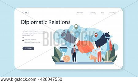 Diplomat Profession Web Banner Or Landing Page. Idea Of International Relations And Government. Coun