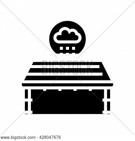 Roof Waterproofing Glyph Icon Vector. Roof Waterproofing Sign. Isolated Contour Symbol Black Illustr