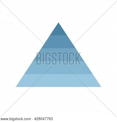 Pyramid Scheme 5 Five Steps. Vector Hierarchy Level Chart Graph, Blue Diagram Structure. Triangle In