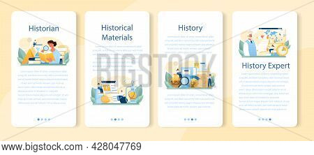 Historian Mobile Application Banner Set. History Science, Paleontology