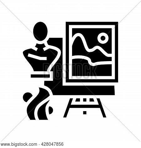 Art School Lesson Glyph Icon Vector. Art School Lesson Sign. Isolated Contour Symbol Black Illustrat