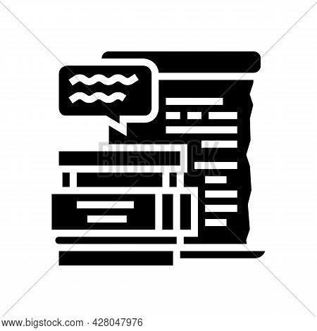 Literature School Lesson Glyph Icon Vector. Literature School Lesson Sign. Isolated Contour Symbol B