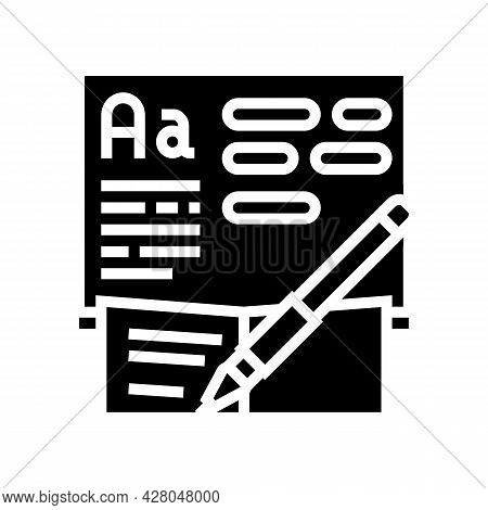Writing School Lesson Glyph Icon Vector. Writing School Lesson Sign. Isolated Contour Symbol Black I