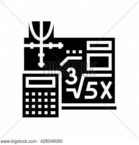 Math School Lesson Glyph Icon Vector. Math School Lesson Sign. Isolated Contour Symbol Black Illustr