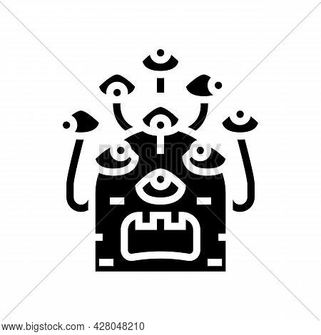 Alien With Nine Eyes Glyph Icon Vector. Alien With Nine Eyes Sign. Isolated Contour Symbol Black Ill