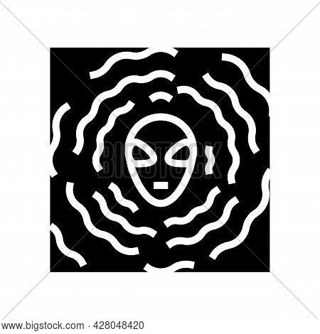 Alien Vibration Glyph Icon Vector. Alien Vibration Sign. Isolated Contour Symbol Black Illustration