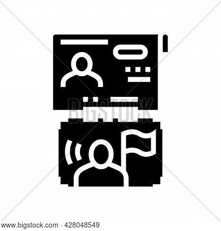 Visa As Political Asylum Glyph Icon Vector. Visa As Political Asylum Sign. Isolated Contour Symbol B