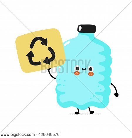 Cute Funny Happy Smile Plastic Bottle Character Hold Recycle Sign. Vector Cartoon Character Sticker