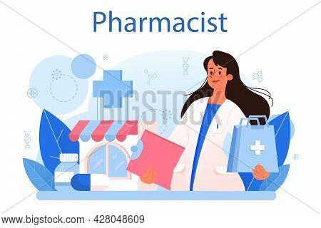 Pharmacy Concept. Pharmacist Preparing And Selling Drugs