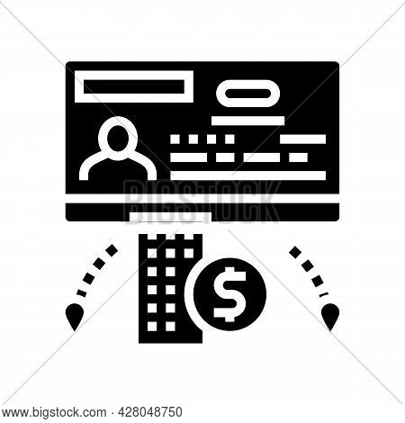 Business Visa Glyph Icon Vector. Business Visa Sign. Isolated Contour Symbol Black Illustration