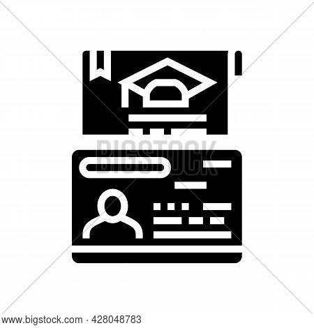 Educational Visa Glyph Icon Vector. Educational Visa Sign. Isolated Contour Symbol Black Illustratio