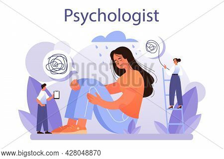 Psychologist Concept. Mental Health Diagnostic. Doctor Treating Human