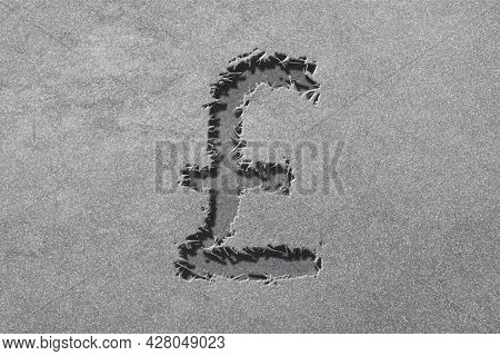 Great Britain Pound Sterling, Gbp Pound Currency, Monetary Currency Symbol, Rugged, Silver Backgroun