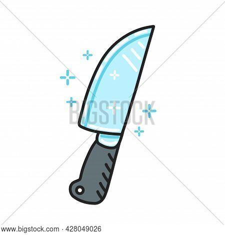 Cute Funny Kitchen Chef Knife Character. Vector Flat Line Cartoon Kawaii Character Illustration Icon