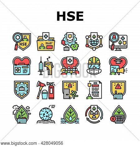Health Safety Environment Hse Icons Set Vector. Communication And Learning, Energy Saving And Waste