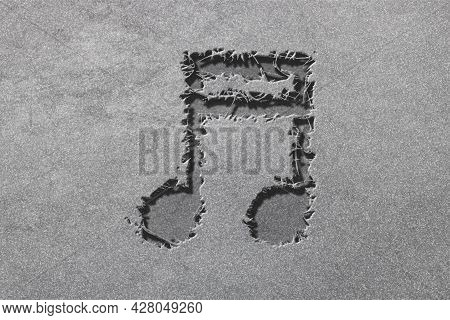 Beamed Sixteenth Note Symbol, Music Background, Rugged, Silver Background
