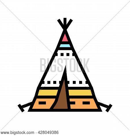Tipi Tepee Boho Color Icon Vector. Tipi Tepee Boho Sign. Isolated Symbol Illustration