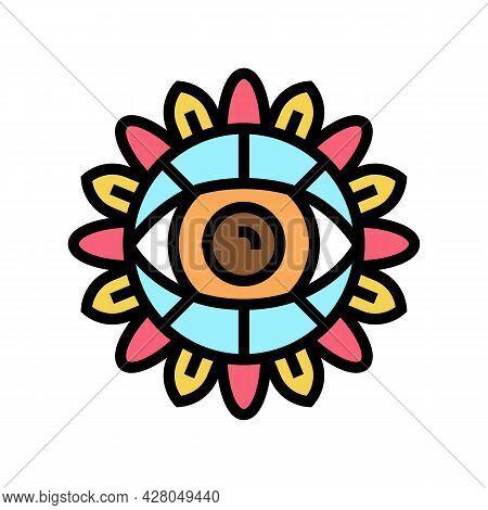 Eye Boho Color Icon Vector. Eye Boho Sign. Isolated Symbol Illustration
