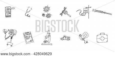Miniatures Medicine Ambulance. Doodle Image On Stock