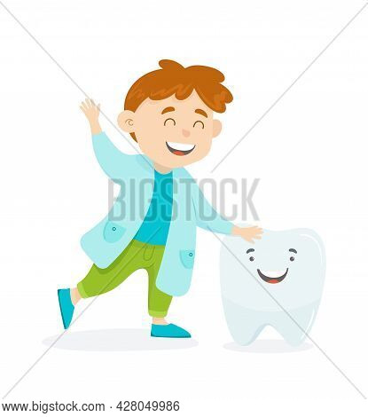 Children Dentist Character Vector Illustration. A Teenage Child In A Dentist Gown Is Smiling With A