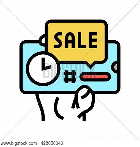 Sale Ephemeral Color Icon Vector. Sale Ephemeral Sign. Isolated Symbol Illustration