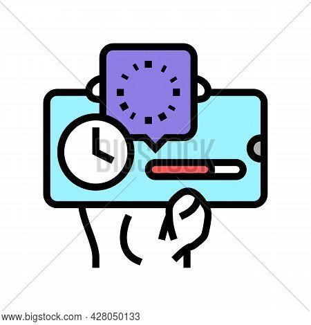 Downloading Process Ephemeral Color Icon Vector. Downloading Process Ephemeral Sign. Isolated Symbol