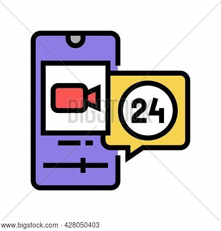 Video Movie Ephemeral Color Icon Vector. Video Movie Ephemeral Sign. Isolated Symbol Illustration