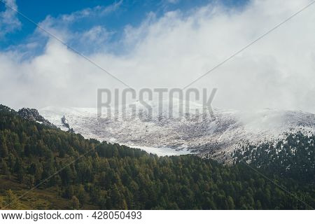Atmospheric Autumn Landscape With Coniferous Forest On Background Of High Snow-covered Mountain Top