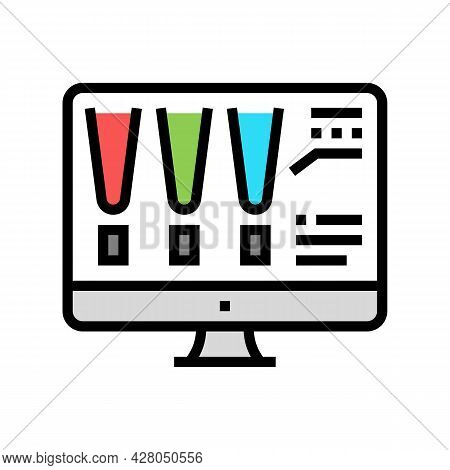 Choose Color Lighting On Computer Screen Color Icon Vector. Choose Color Lighting On Computer Screen