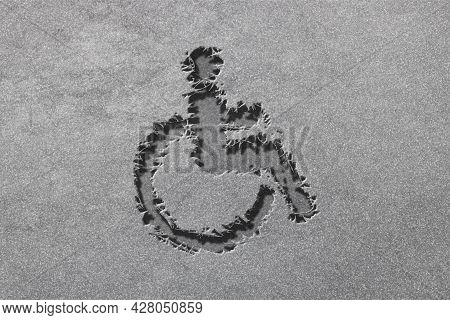 Wheelchair Sign, Disabled Symbol, Disabled Handicap, Rugged, Silver Background