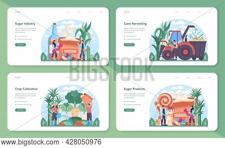 Sugar Production Industry Web Banner Or Landing Page Set. Saccharose
