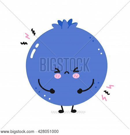 Cute Sad Funny Blueberry. Vector Flat Line Cartoon Kawaii Face Character Illustration Icon. Isolated