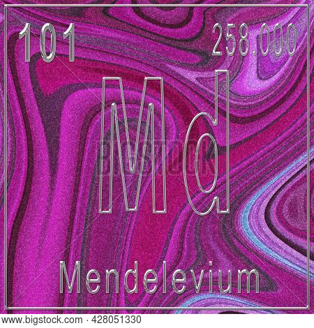 Mendelevium Chemical Element, Sign With Atomic Number And Atomic Weight, Periodic Table Element, Pin