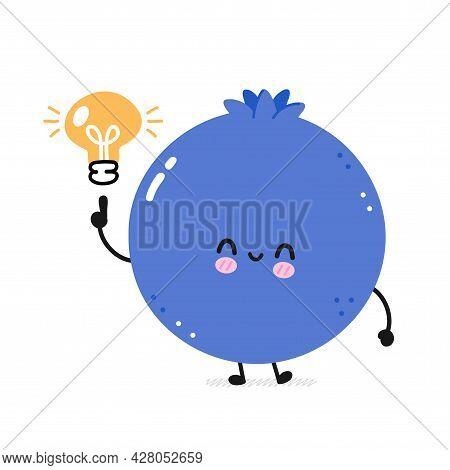 Cute Happy Smile Funny Blueberry With Idea Lamp. Vector Flat Line Cartoon Kawaii Face Character Illu