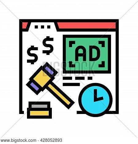 Real Time Bidding Color Icon Vector. Real Time Bidding Sign. Isolated Symbol Illustration