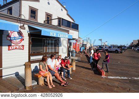 Santa Barbara, United States - April 6, 2014: People Visit Stearns Wharf In Santa Barbara, Californi