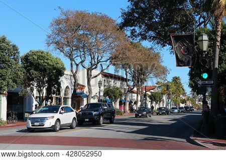 Santa Barbara, United States - April 6, 2014: People Visit Santa Barbara, California. It Is A Popula