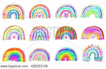 Shabby Chic Hand Painted Watercolor Style Rainbow Doodles. A Set Of 12 Unique Designs.