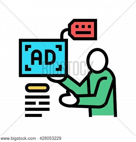Advertiser Of Ad Placement Color Icon Vector. Advertiser Of Ad Placement Sign. Isolated Symbol Illus