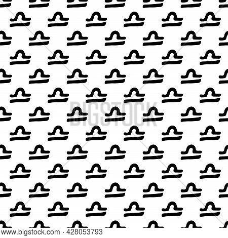 Libra Zodiac Sign Black And White Seamless Pattern Vector. Hand-drawn Libra Black Symbols On White R