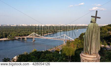 Kyiv, Ukraine - Jul. 24, 2021: Saint Vladimir Monument On The Kyiv Hills. Scenic Landscape View Of D