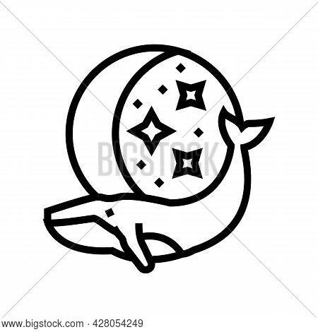 Whale Boho Line Icon Vector. Whale Boho Sign. Isolated Contour Symbol Black Illustration