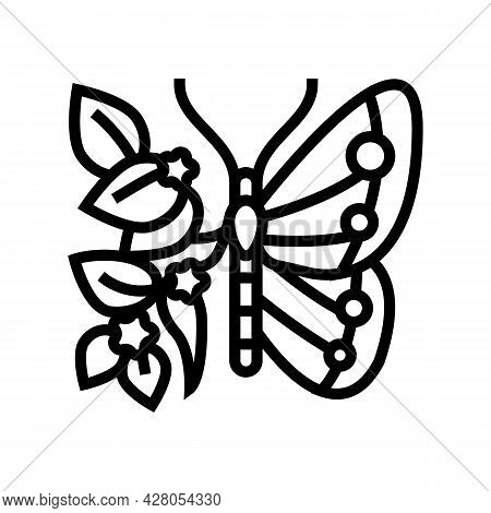 Butterfly Boho Line Icon Vector. Butterfly Boho Sign. Isolated Contour Symbol Black Illustration