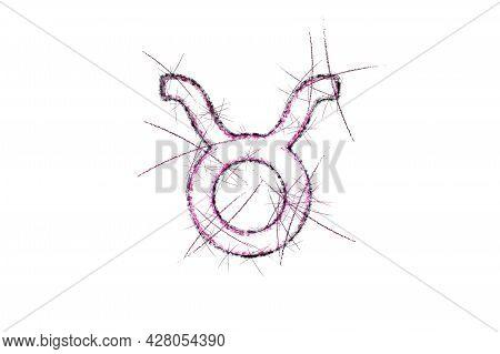 Taurus Zodiac Sign, Horoscope Astrology Background, Taurus Horoscope Symbol, Pink Symbol On White Ba