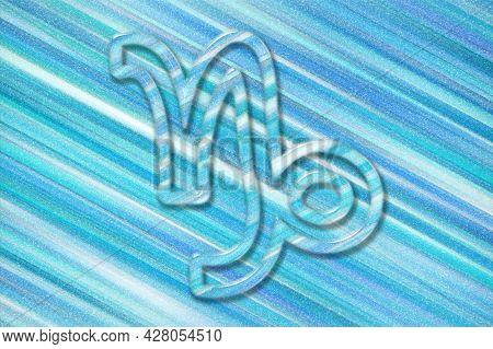 Capricorn Zodiac Sign, Blue Background, Horoscope Astrology Background, Capricorn Horoscope Symbol,