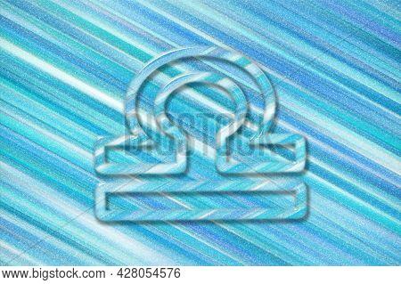 Libra Zodiac Sign, Blue Background, Horoscope Astrology Background, Libra Horoscope Symbol, Blue Hor