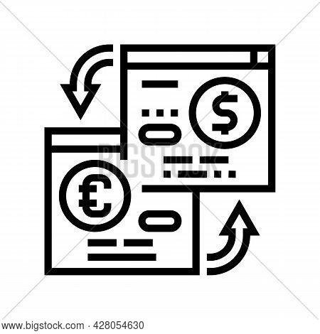 Opening Savings Accounts In Foreign Currency Line Icon Vector. Opening Savings Accounts In Foreign C